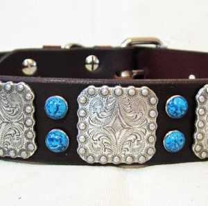 CCC Western Leather Dog Collars - 1.50 Berry Bow Wow Turquoise
